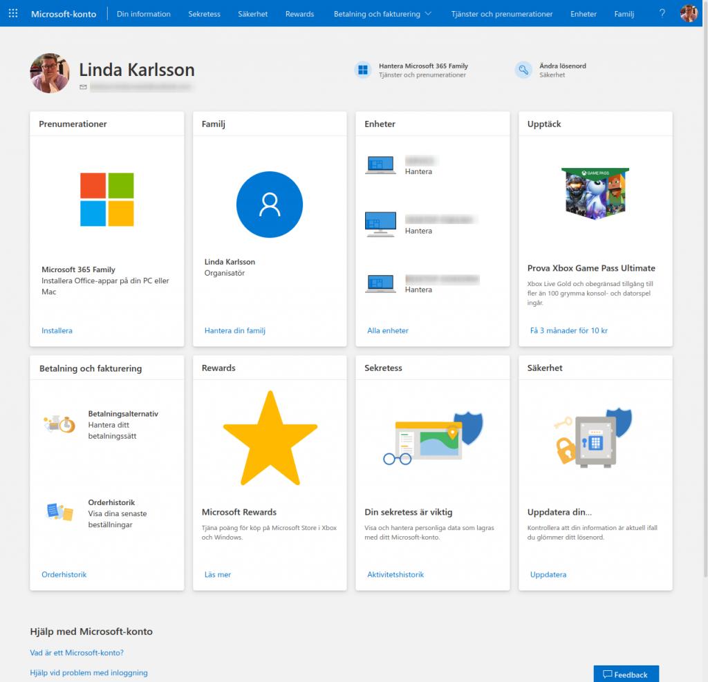 Bild på administrationen för Microsoft-konto