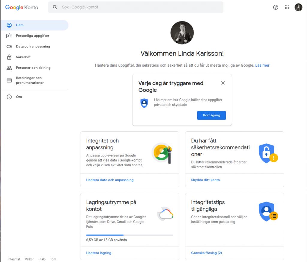 Administrationen för Google-konto
