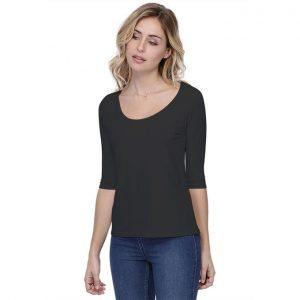 Rendez-Vous Paris T-Shirt Ronde Hals 3/4 Mouw Zwart