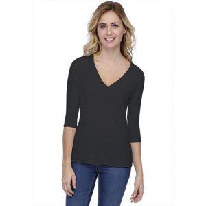 Rendez-Vous Paris T-Shirt V-hals 3/4 Mouw Zwart