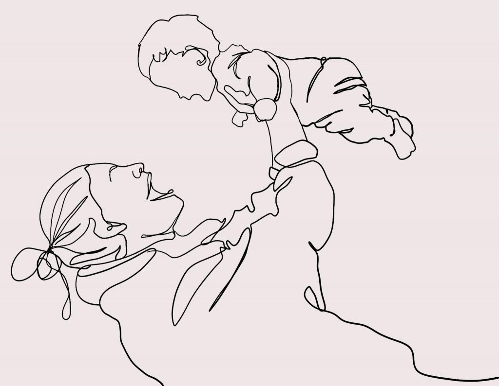 illustration mother and child