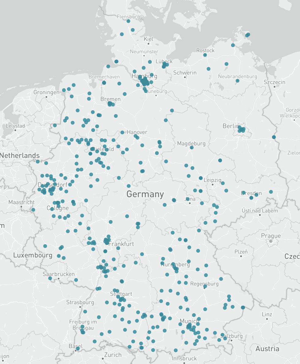 Karte Lebensmittelunternehmen Deutschland