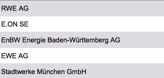 Liste Größte Stromversorger Deutschland