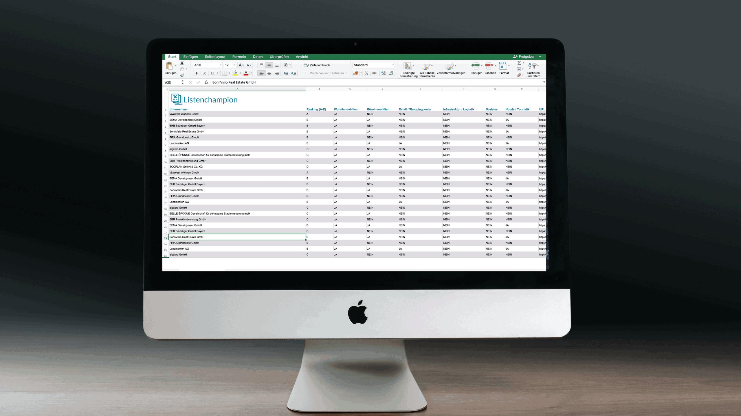 Update Projektentwickler Datenbank Liste