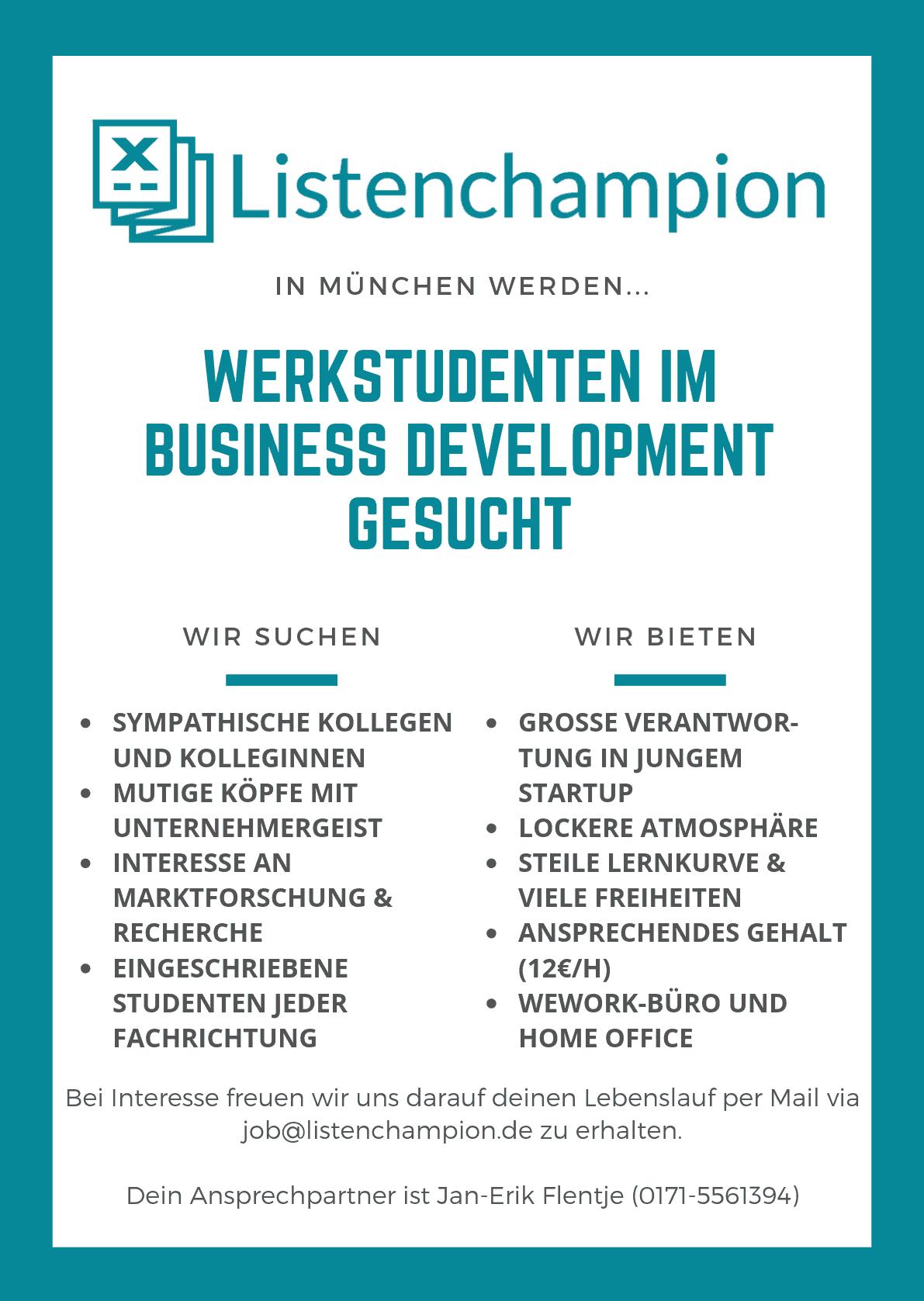 werkstudenten job münchen business development
