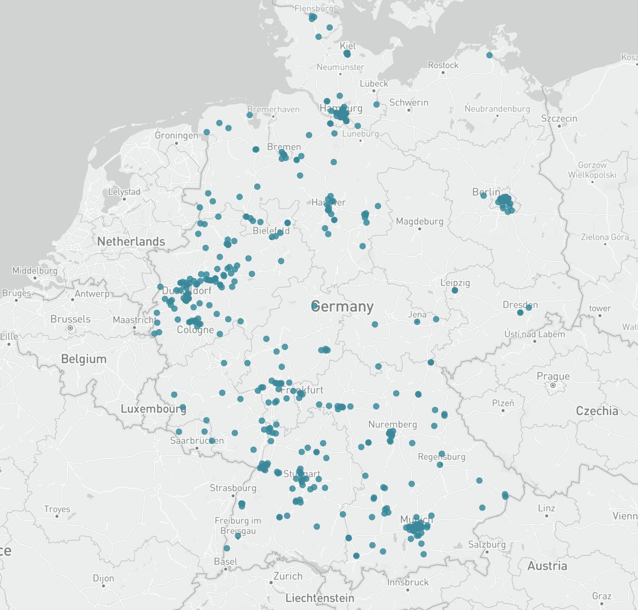 Karte Handelsunternehmen Deutschland