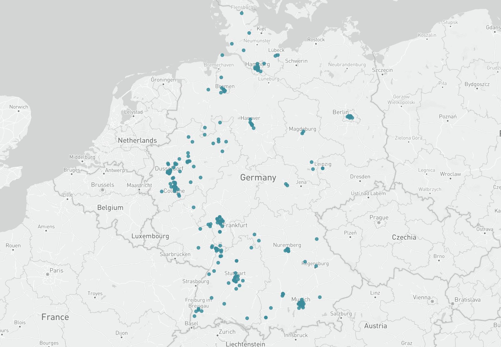 Karte Dienstleistungsunternehmen Deutschland