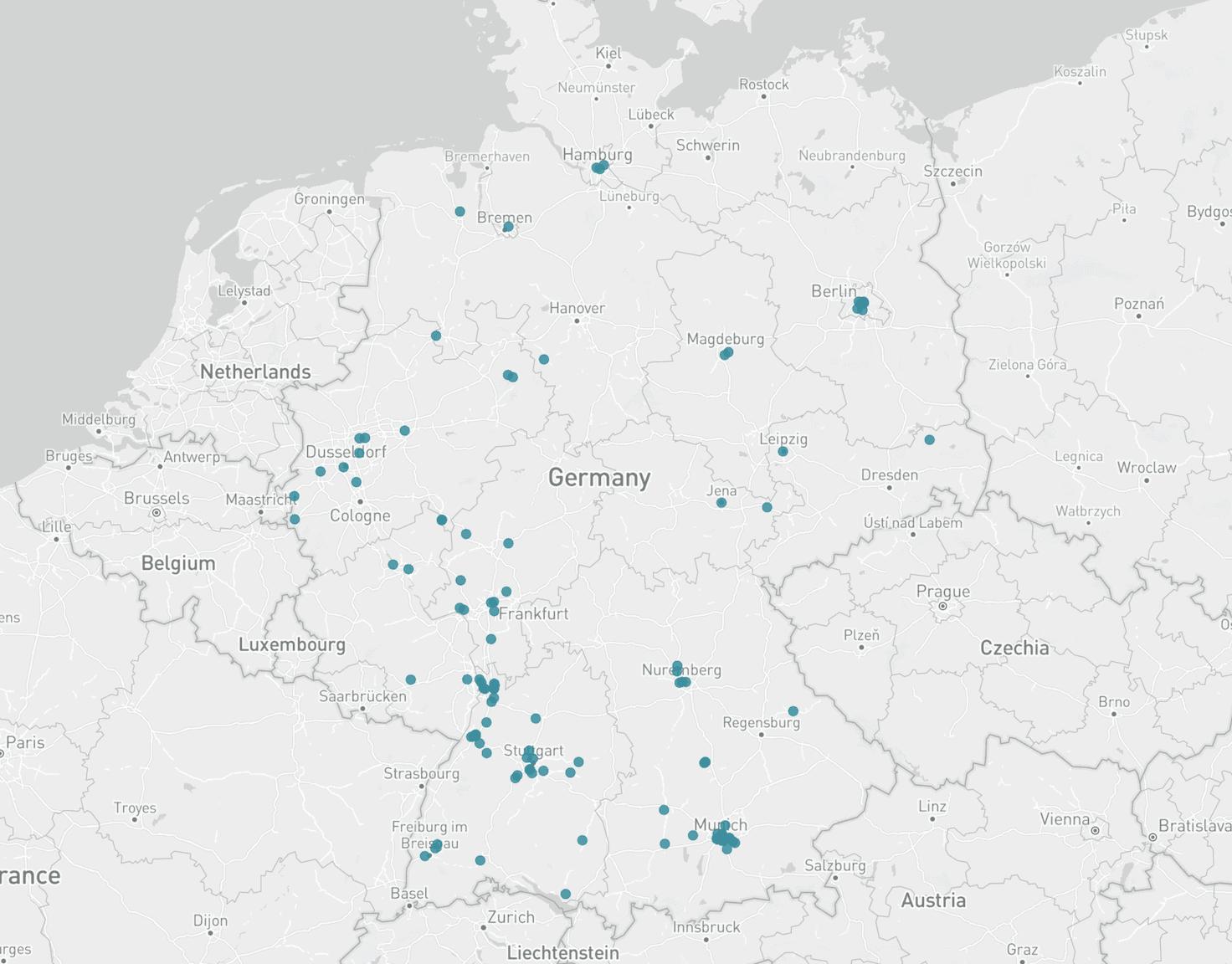 Karte Software Unternehmen Deutschland
