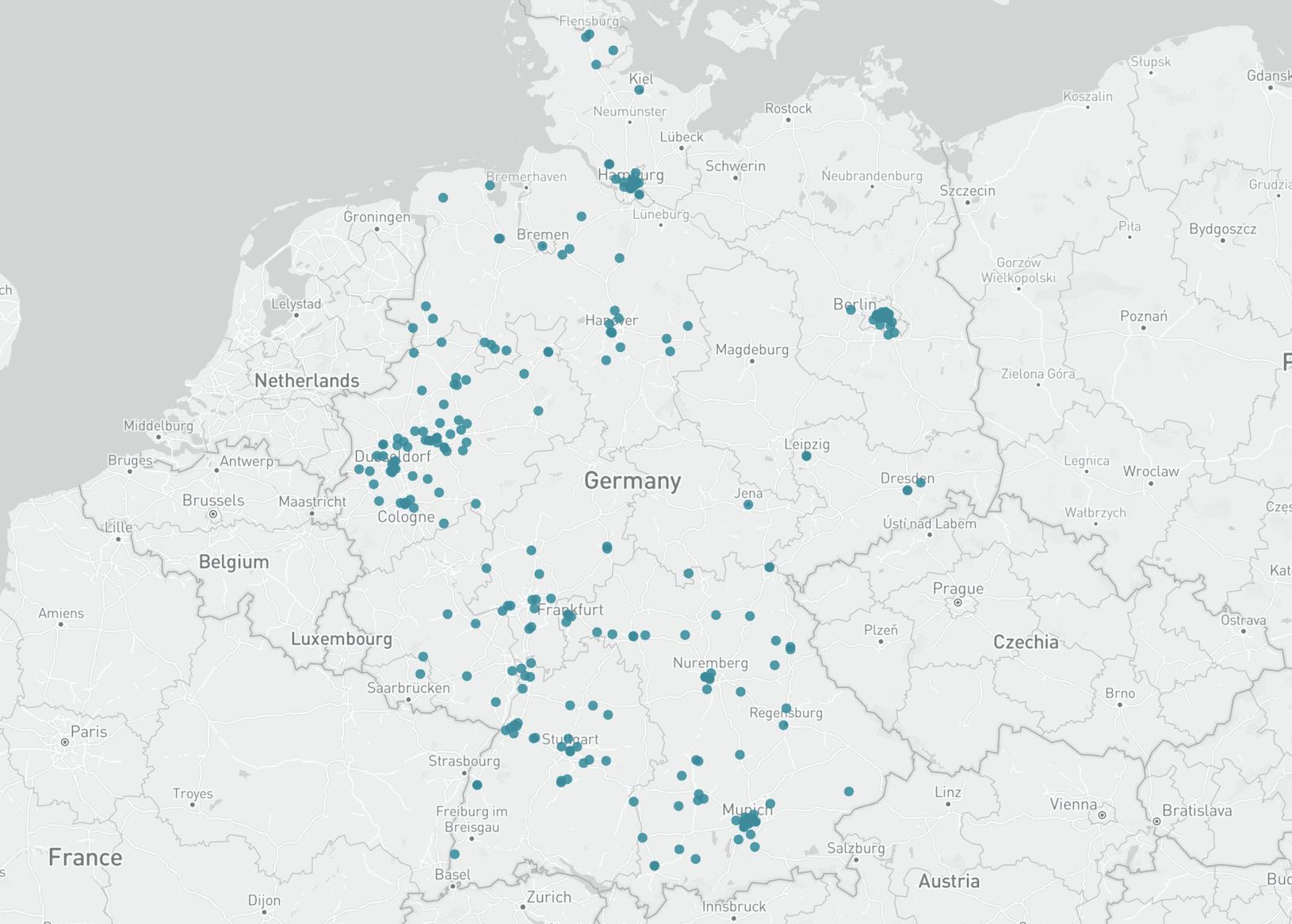 Karte Einzelhandelsunternehmen Deutschland
