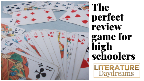 """Card game image with text """"the perfect review game for high schoolers"""""""