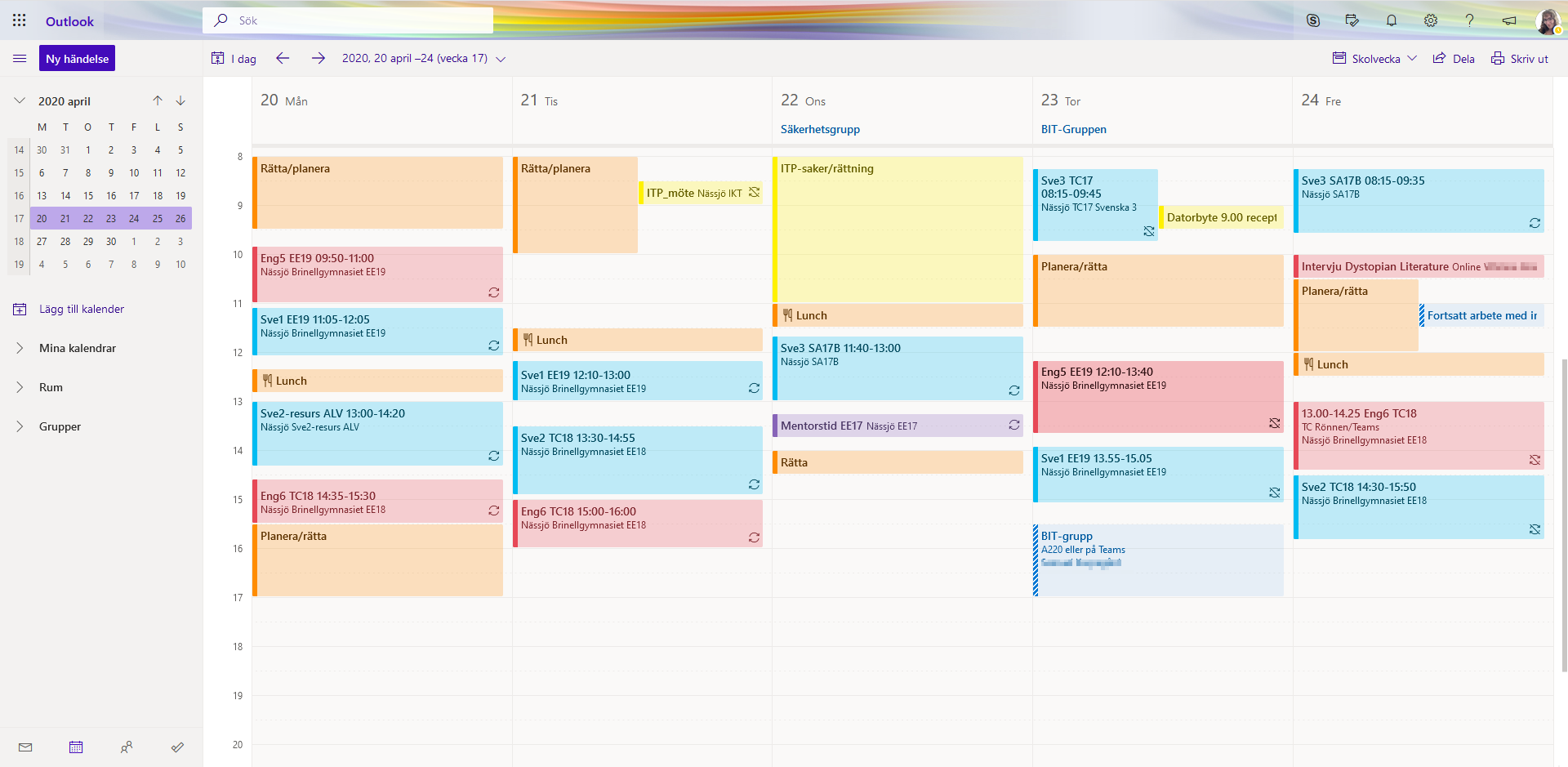 Calendar sample of my work week during spring 2020 as seen from the webversion of Office 365