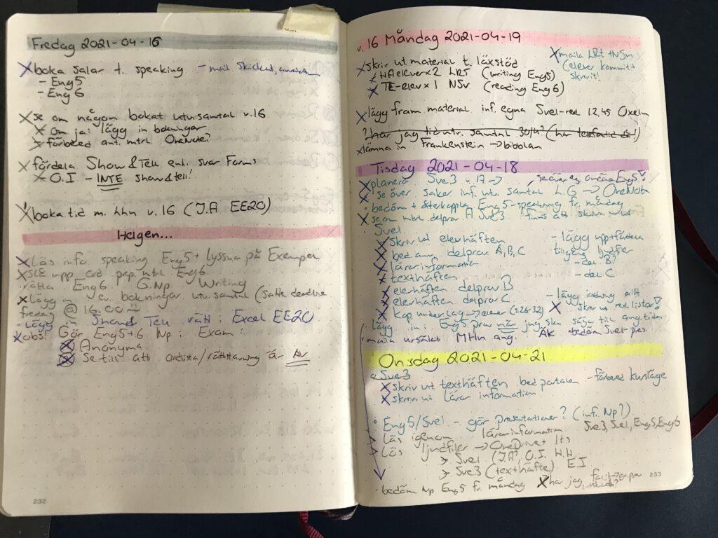 Sample of a regular week in my bullet journal for work