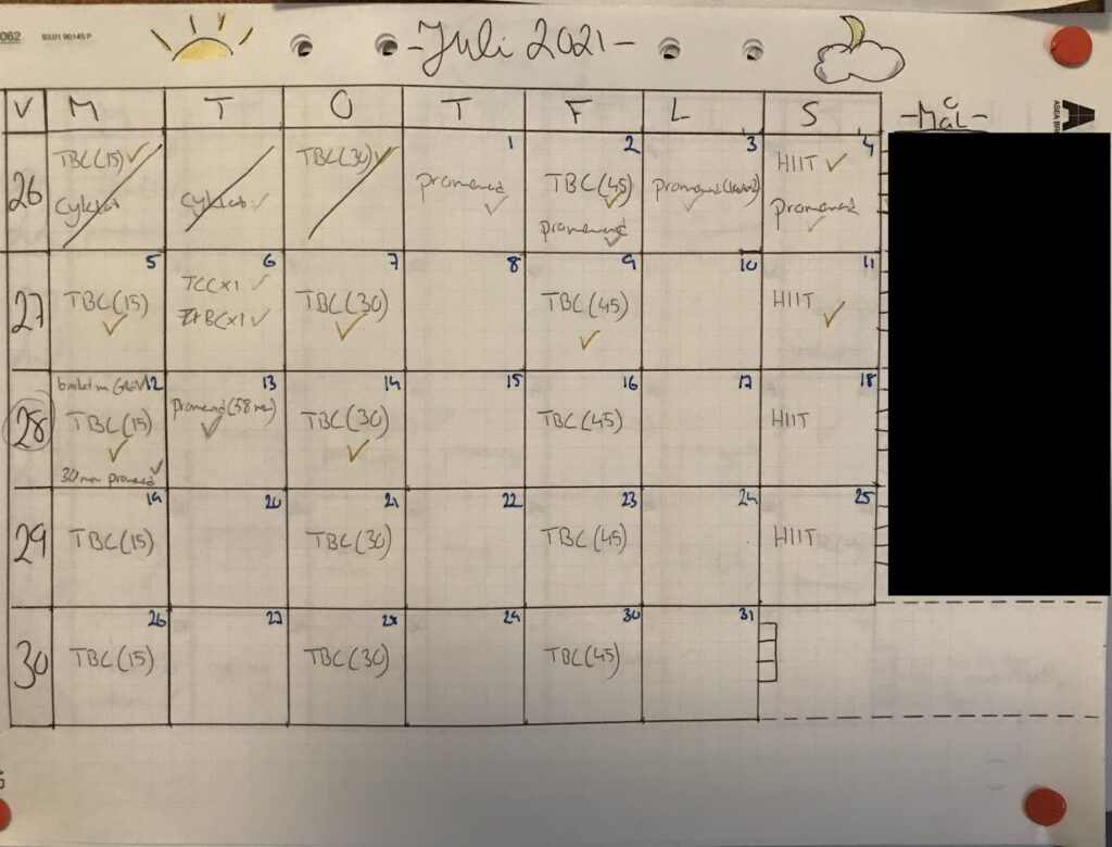 Hand-drawn calendar on graph paper to track activity for a month.