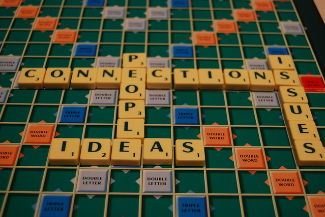 A picture showing a game of Scrabble and the words connections, people, issues, ideas
