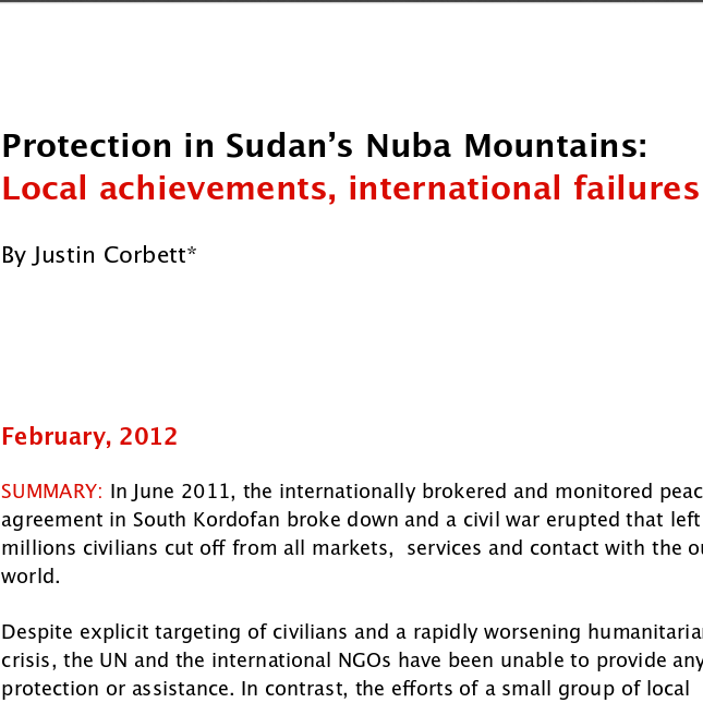 Protection in Sudan's Nuba Mountains: Local achievements, international failures Image