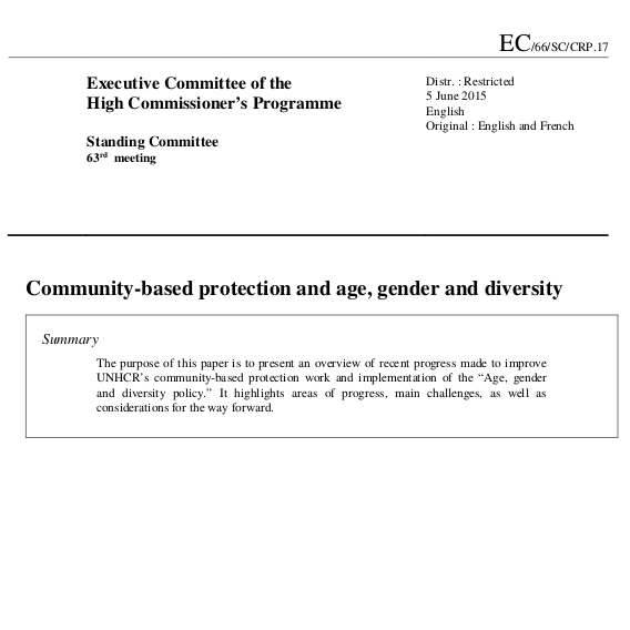 Community-based protection and age, gender and diversity Image