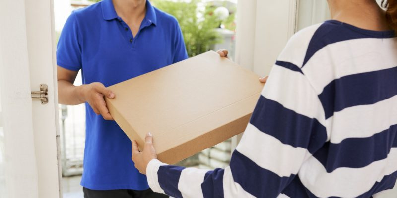 Woman receiving package