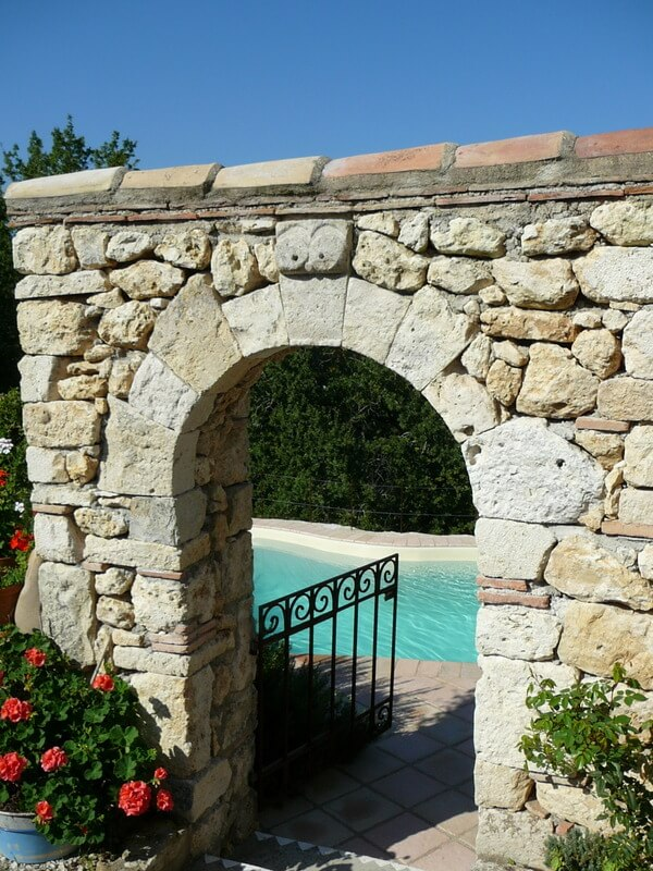 Gate to pool area at Loste