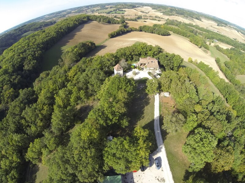 High aerial view of Loste in Quercy