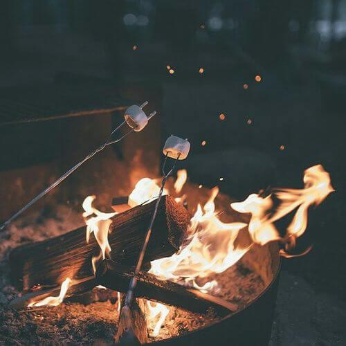 Basic pleasures toasting marshmallows