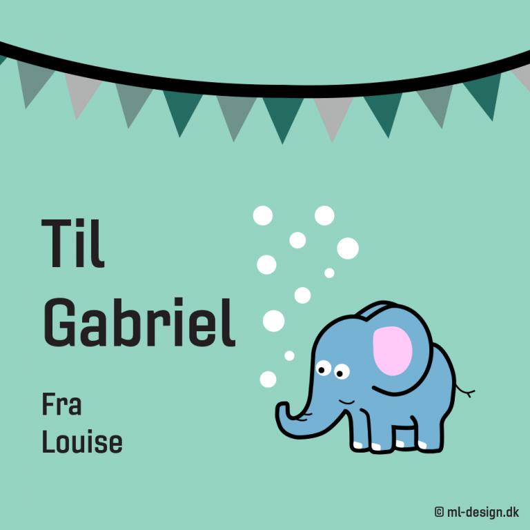 Kort med elefant