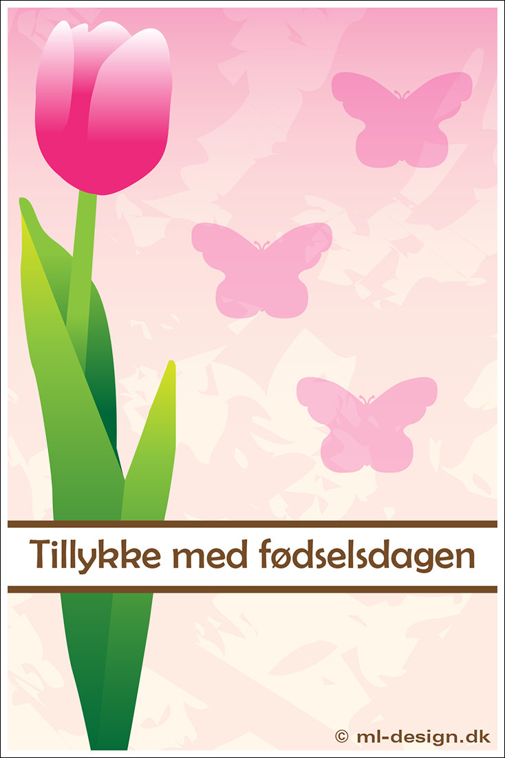 Fødselsdagskort med tulipan