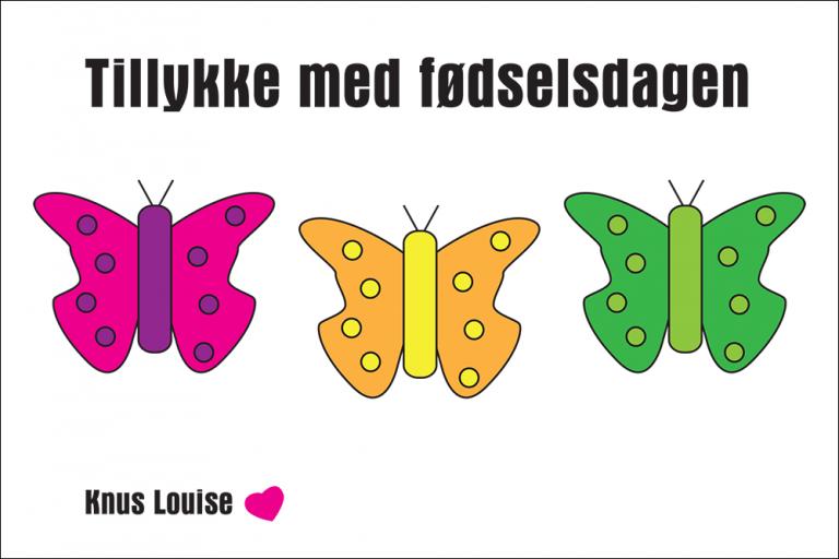 Fødselsdagskort med sommerfugle