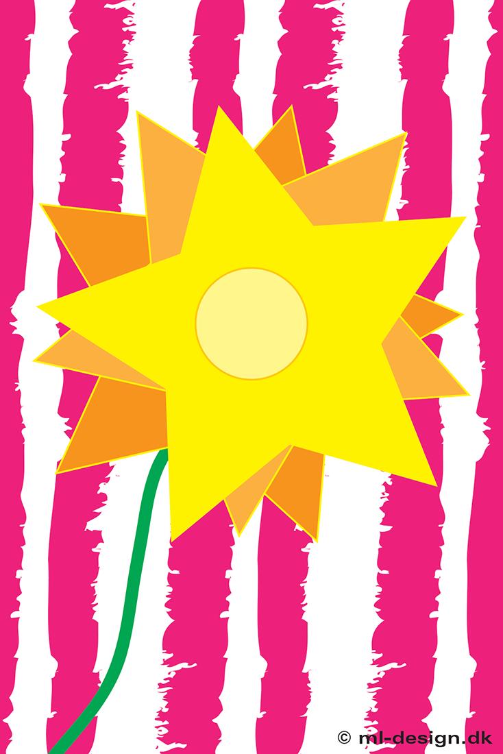 kort med blomst og striber