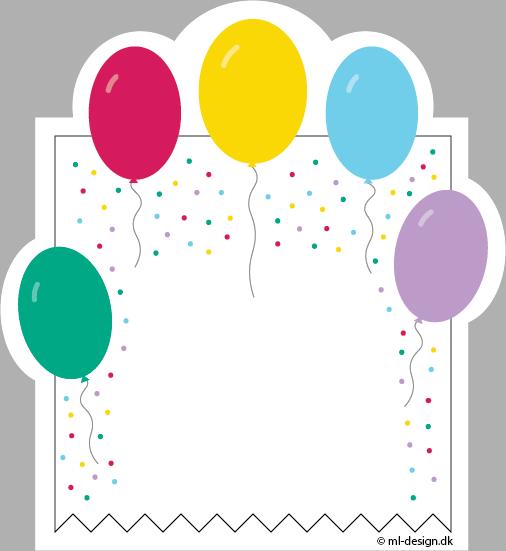 Kort med balloner og konfetti