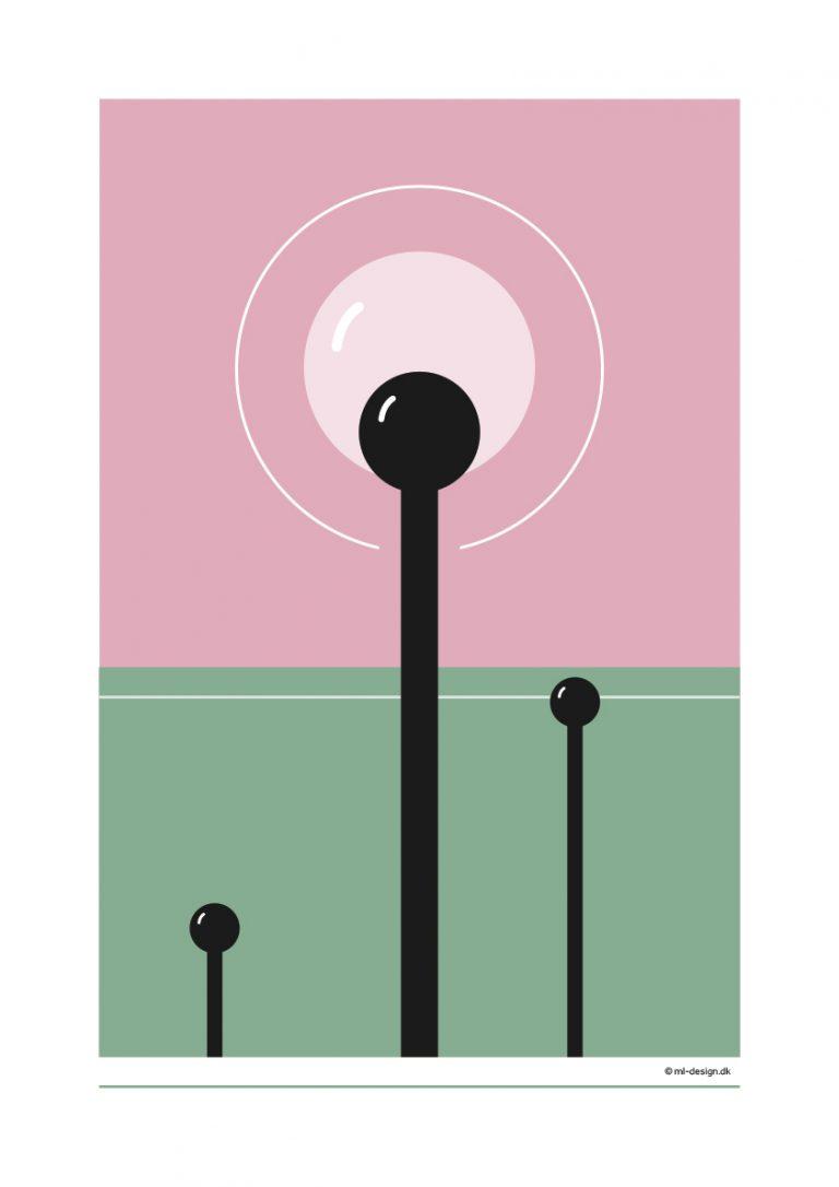 A3 plakat - lyserød og grøn