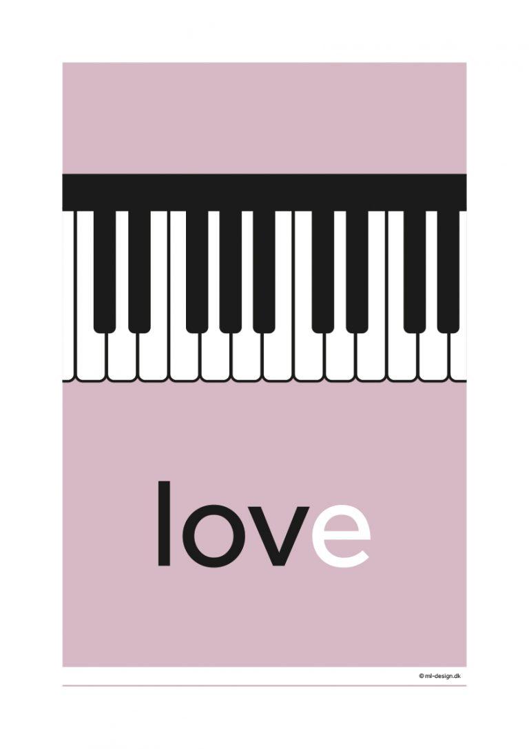 A3 plakat - love piano