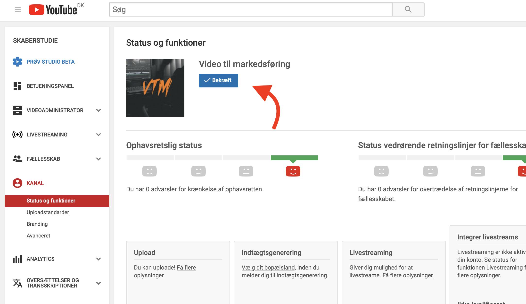 4 tryk på bekræft for at godkende din youtubekanal