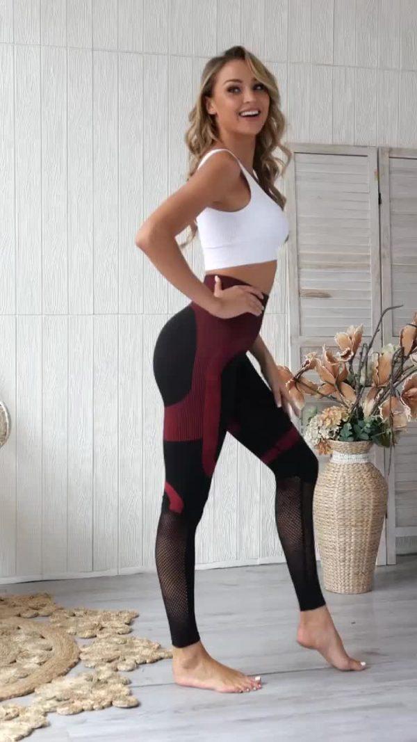 red seamless gym leggings 2