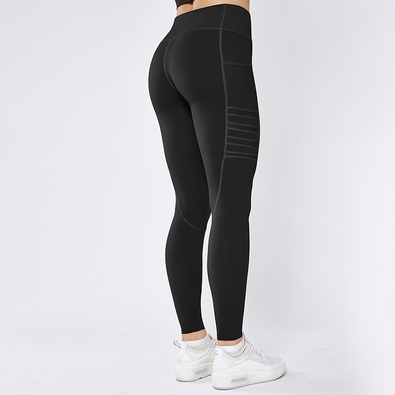 black mesh gym leggings with pocket