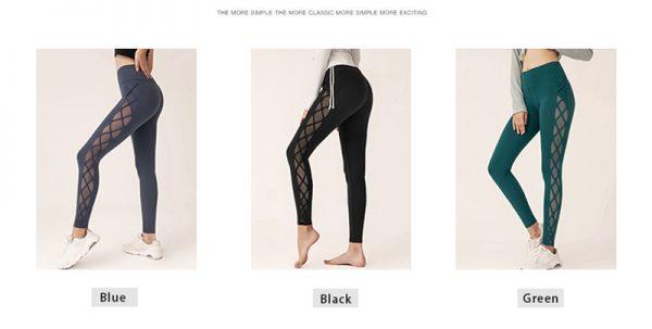 blue, black green mesh squat proof leggings