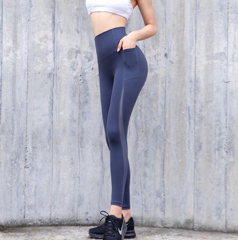 blue high waist leggings with pocket