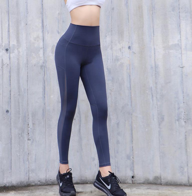 blue high waist mesh leggings