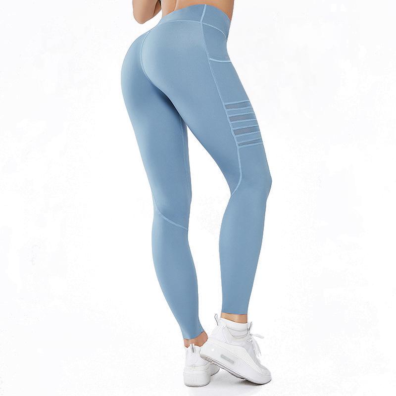 blue mesh pocket leggings back