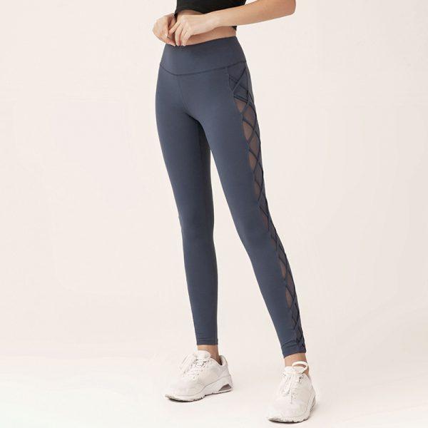 blue mesh squat proof gym pants