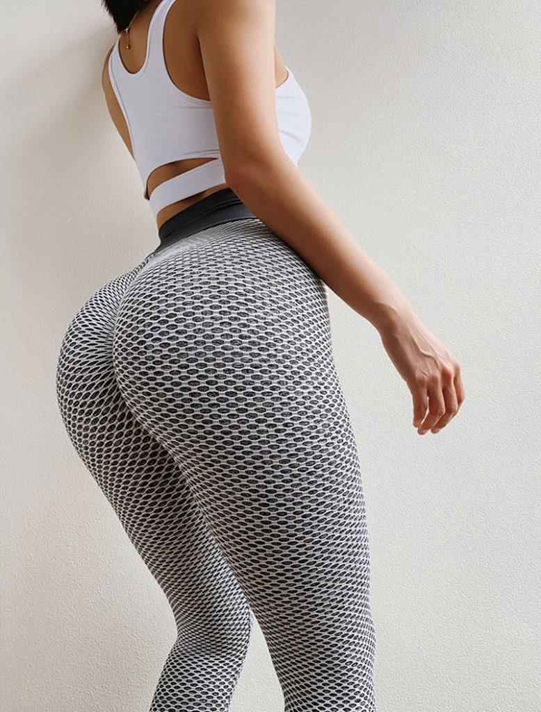 grey anti-cellulite high waisted leggings 2
