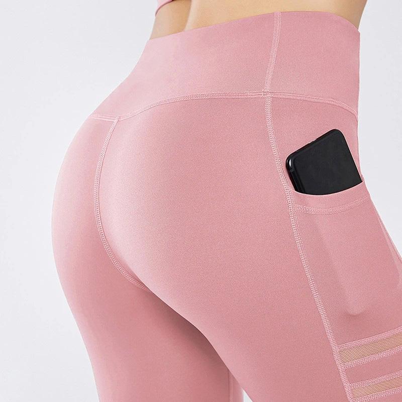pink mesh pocket leggings pocket