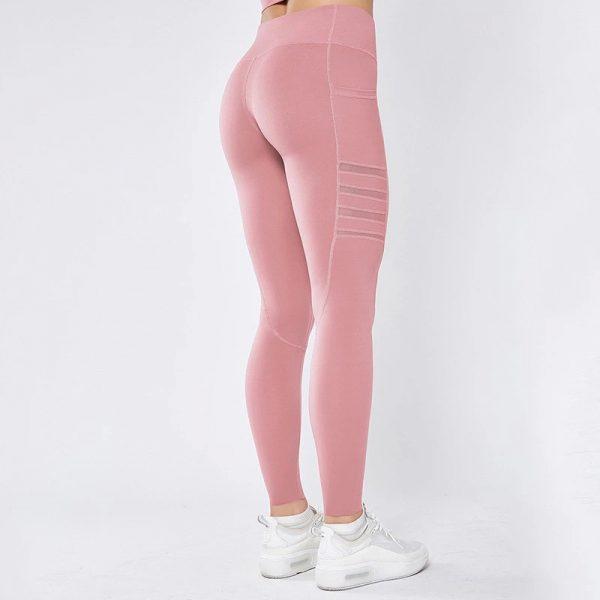 pink mesh pocket leggings