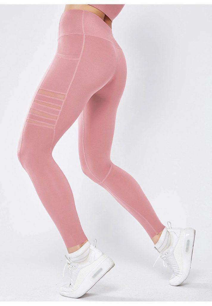 pink mesh pocket leggings back