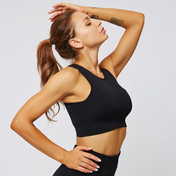 seamless black gym top