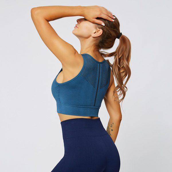 seamless blue gym top