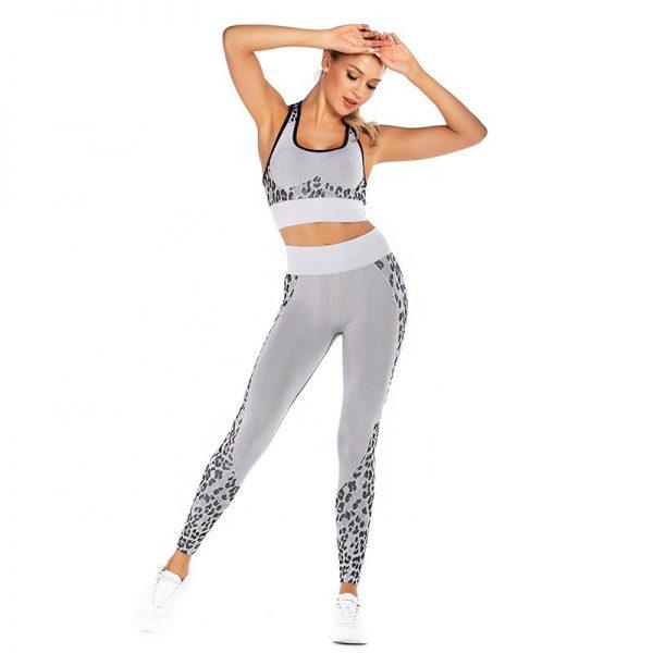 Seamless grey print gym leggings and bra top set