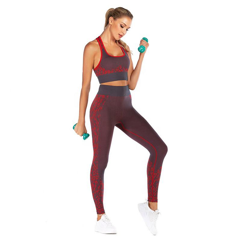 Seamless red print gym leggings and bra top set