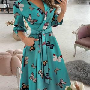Butterfly Print Wrap Dress