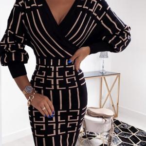 Greek Key Print Wrap Dress Black