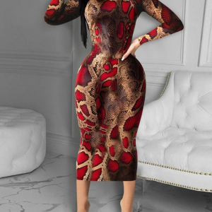 Red Animal Print Bodycon Dress